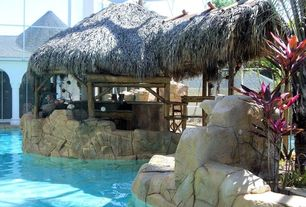 Swimming Pool with Grass roof, Covered pool, Cabana, Rock wall