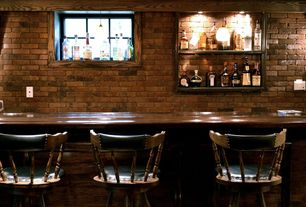 Traditional Bar with G & A Commercial Seating Colonial Swivel Barstool, Exposed beam, Pendant light, interior brick