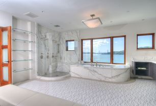 Contemporary Master Bathroom with Master bathroom, Bathtub, European Cabinets, Standard height, partial backsplash, Paint