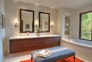 Contemporary Master Bathroom with drop in bathtub, Master bathroom, linen and towel storage cabinet, Bathtub, Double sink