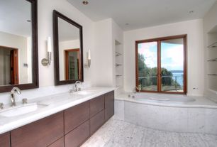 Contemporary Master Bathroom with can lights, European Cabinets, Casement, Complex marble counters, drop in bathtub, Bathtub