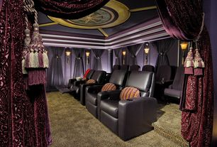 Eclectic Home Theater with Columns, Crown molding, Carpet, Wall sconce