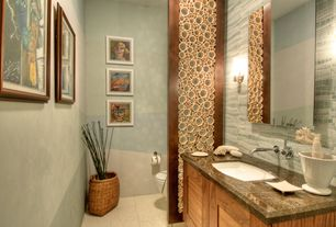 Contemporary Powder Room with Complex marble counters, Vigo Wall Mounted Bathroom Faucet with Single Lever Handle, Flush
