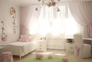 Traditional Kids Bedroom with Round carpet area rug, Crown molding, Romantic rose chandelier, Melrose camel side chair