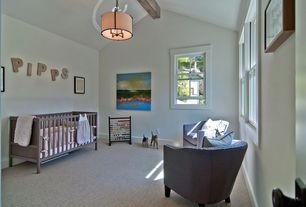 Contemporary Kids Bedroom with Exposed beam, flush light, Carpet