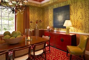 Traditional Dining Room with High ceiling, Casement, Crown molding, interior wallpaper, Carpet, Chandelier