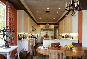 Eclectic Kitchen with Paint 1, picture window, Paint 2, U-shaped, Built In Refrigerator, Subway Tile, Chandelier, Flush