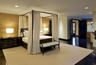 Contemporary Master Bedroom with Pental slab marble, Gold leaf wall paper, Bedford Canopy Bed - Black - King, Laminate floors