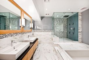 Contemporary Master Bathroom with Demao glass interlocking mosaic wall tile, Paint 1, Paint 2