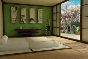 Asian Guest Bedroom with Paint, Porcelain Happy Buddha, Shoji door, Ink painting Bamboo mural, Jacquard woven bolster