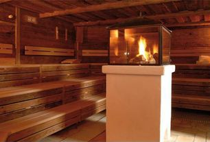 Rustic Master Bathroom with Superior Sauna & Steam Western Red Cedar Sauna Wood, Decorpro Cell Atrium Bio Ethanol Fireplace