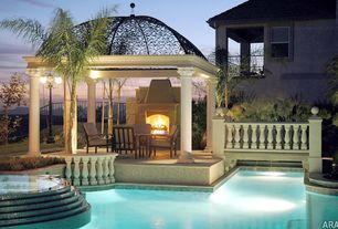 Mediterranean Patio with Pool with hot tub