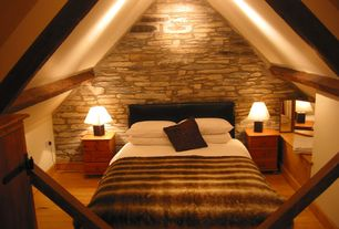 Rustic Guest Bedroom with Exposed beam, Standard height, flush light, Paint, Hardwood floors