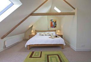 Contemporary Guest Bedroom with Skylight, Rugs America Vero Beach Green Matera Area Rug, Ikea Dvala Duvet Cover, Carpet