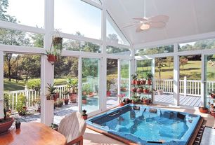 Tropical Hot Tub with Transom window, Deck Railing, picture window, sliding glass door