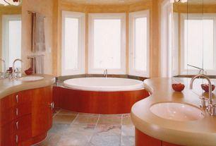 Contemporary Master Bathroom with European Cabinets, Master bathroom, Flush, Corian counters, Bay window, Undermount sink