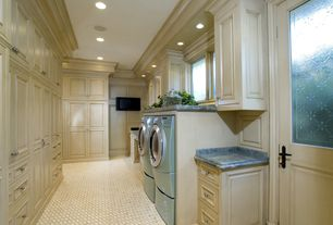 Traditional Laundry Room with Marble.com Marble Blue Damasco, Glass panel door, Wainscotting, Built-in bookshelf, Carpet