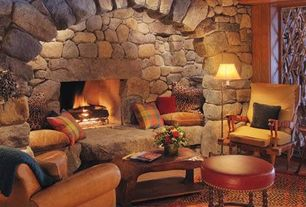 Rustic Living Room with stone fireplace, Hardwood floors
