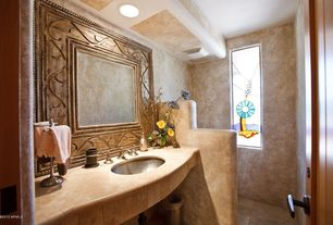 Rustic Powder Room with Standard height, Stained glass window, Limestone counters, Powder room, can lights, Undermount sink
