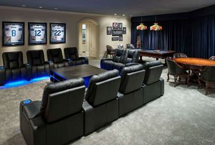 Modern Game Room with Pool table, Card table, Game table, Framed artwork, Leather recliner, Carpet, Wood coffee table