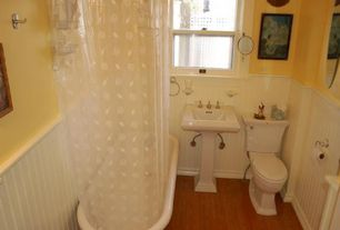 Cottage Full Bathroom with Freestanding vintage clawfoot tub, Kohler memoirs pedestal lavatory, Beadboard wainscoting, Paint