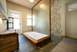 Contemporary Master Bathroom with specialty door, Master bathroom, slate tile floors, French doors, flush light