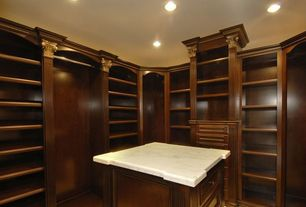 Traditional Closet with Custom design, Standard height, Built-in bookshelf, can lights, Hardwood floors, White marble top