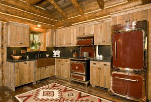 Rustic Kitchen with Farmhouse sink, full backsplash, Exposed beam, Area rug, Simple granite counters, Under cabinet lighting