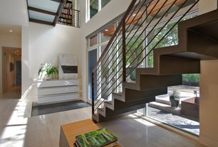 Contemporary Staircase with Metal staircase, Loft, Transom window, Exposed beam, Concrete tile , French doors