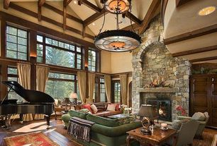 Craftsman Living Room with Bronze chandelier, Paint, Exposed beam ceiling, Custom two tiered bronze and alabaster chandelier