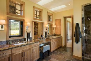 Contemporary Master Bathroom with Ms international multi color 12 in. x 12 in. gauged slate floor and wall tile