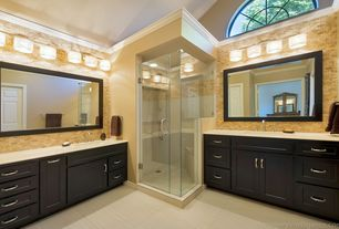"Contemporary Master Bathroom with black framed wall mirror (44""x34""), Faber noce travertine mosaic tumbled tile in brown"