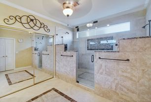 Modern Master Bathroom with Daltile jurastone beige limestone floor and wall tile