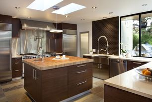 Contemporary Kitchen with Flush, Standard height, Large Ceramic Tile, two dishwashers, Porcelain tiles, Paint, Kitchen island