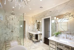 Art Deco Master Bathroom with Vasari Mirror, Chandelier, Master bathroom, Rain shower, Claudia Mirrored vanity desk, Flush