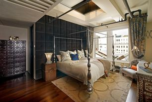 Eclectic Master Bedroom with Paint 1, Interior Illusions Polished Chrome Canopy Bed, West Elm Martini Side Table- Silver