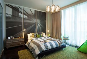 Contemporary Guest Bedroom with Standard height, Chandelier, Laminate floors