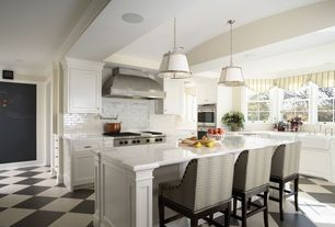 Contemporary Kitchen with Pendant light, Crown molding, Large Ceramic Tile, Farmhouse sink, Wall Hood, Standard height, Paint