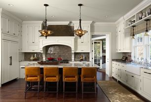 Traditional Kitchen with can lights, Paint, Breakfast bar, Casement, Kitchen island, Custom hood, full backsplash, Paint 2