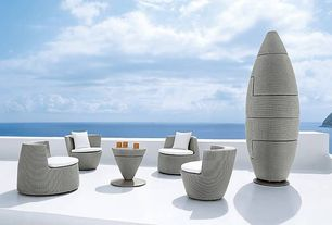Contemporary Patio with Saporito Rattan Sofa Set, exterior stone floors