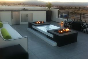 Contemporary Patio with exterior concrete tile floors, Fire pit, exterior tile floors, Fence