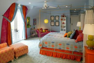 Eclectic Kids Bedroom with Paramount Metal Daybed, can lights, Pendant light, Standard height, Built-in bookshelf, Carpet