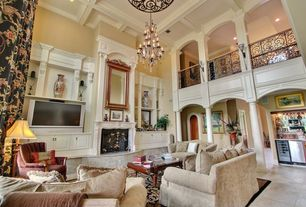 Traditional Living Room with flat door, Chandelier, Double height living room, Box ceiling, Iron railing, Built-in bookshelf