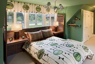 Craftsman Kids Bedroom with Chandelier, six panel door, Standard height, Carpet, Casement, Built-in bookshelf