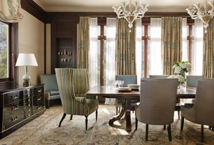 Contemporary Dining Room with Carpet, French doors, Built-in bookshelf, Chandelier, Crown molding, Transom window