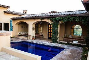 Mediterranean Swimming Pool with exterior stone floors, French doors, Pathway, Other Pool Type, Arched window