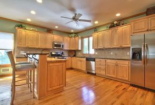 Traditional Kitchen with Ceiling fan, Breakfast bar, Raised pane cabinet doors, Holland bar stool slat-back bar stool