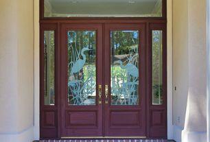 Eclectic Front Door with exterior brick floors, Glass panel door, Transom window