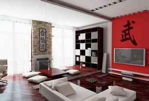 "Asian Living Room with Leda Lounge 70"" Bookcase LEDA1602, High ceiling, Laminate floors, Rapee Charleston Floor Cushion"