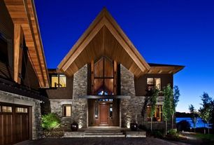 Contemporary Exterior of Home with Vaulted ceiling, Wood paneling, Exterior stone wall